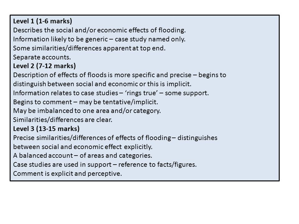 Level 1 (1-6 marks) Describes the social and/or economic effects of flooding.