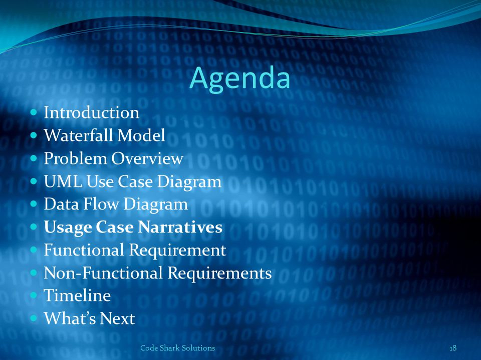 Agenda Introduction Waterfall Model Problem Overview UML Use Case Diagram Data Flow Diagram Usage Case Narratives Functional Requirement Non-Functional Requirements Timeline What's Next 18Code Shark Solutions