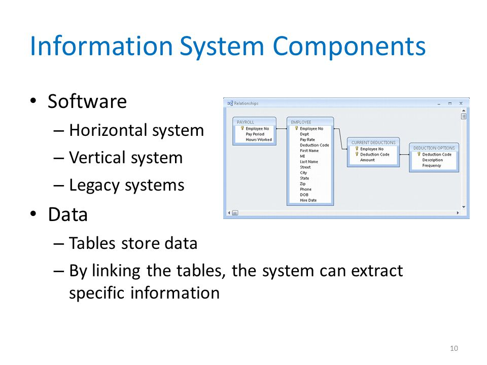 Information System Components Software – Horizontal system – Vertical system – Legacy systems Data – Tables store data – By linking the tables, the system can extract specific information 10
