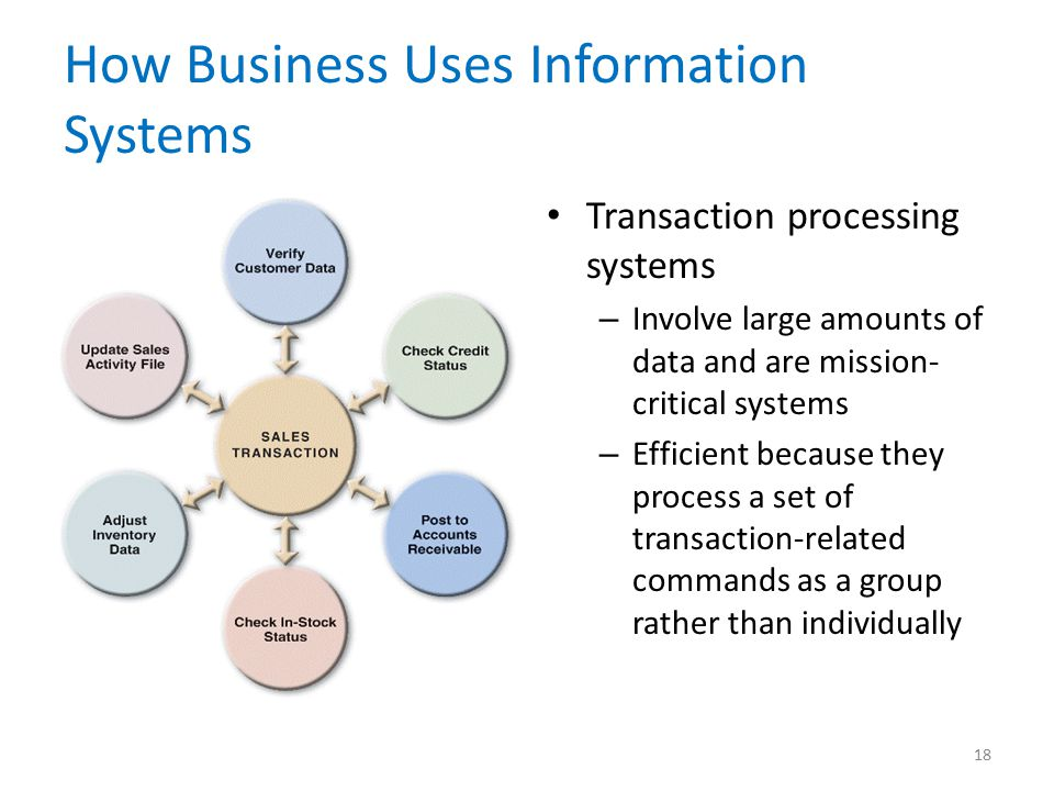 How Business Uses Information Systems Transaction processing systems – Involve large amounts of data and are mission- critical systems – Efficient because they process a set of transaction-related commands as a group rather than individually 18