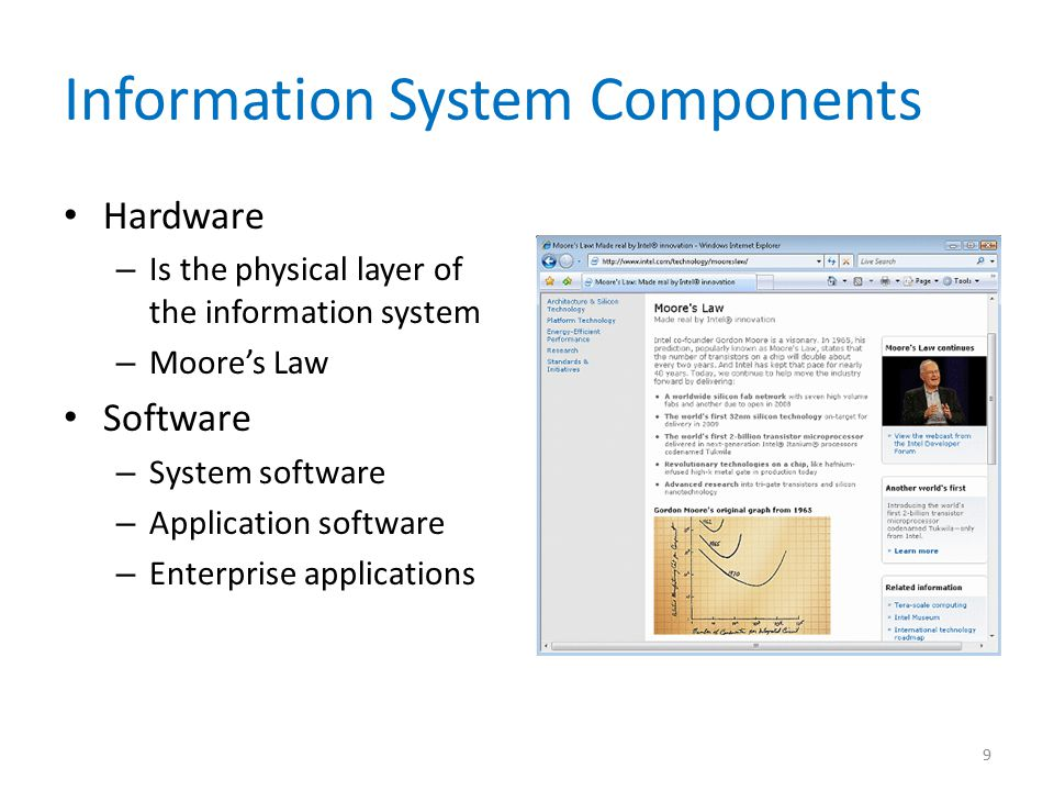 Information System Components Hardware – Is the physical layer of the information system – Moore's Law Software – System software – Application softwa