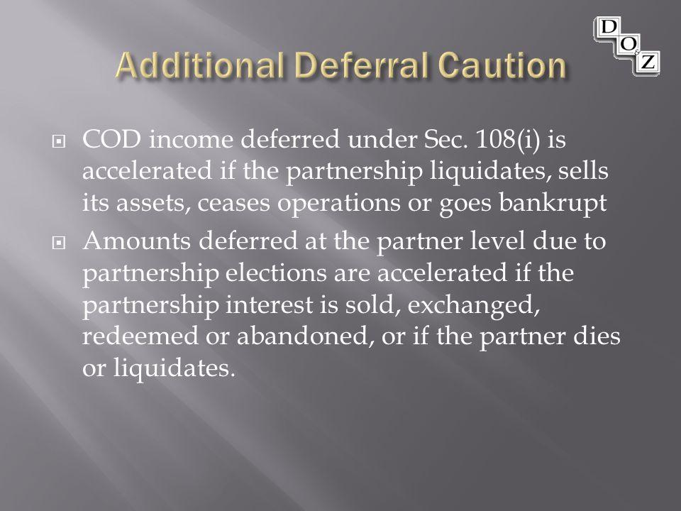  COD income deferred under Sec.
