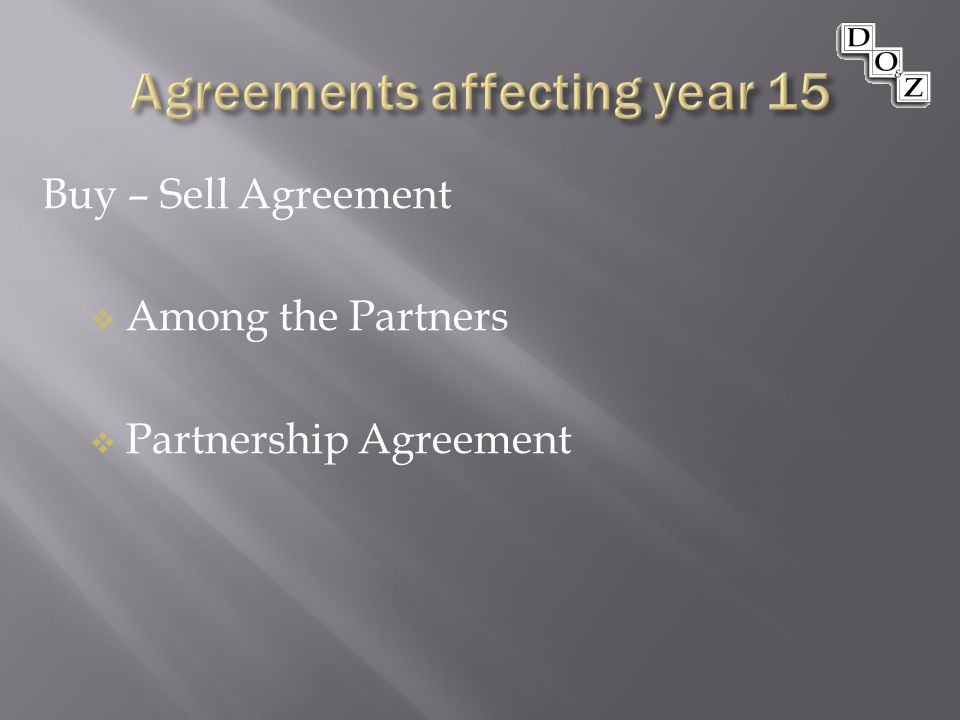 Buy – Sell Agreement  Among the Partners  Partnership Agreement