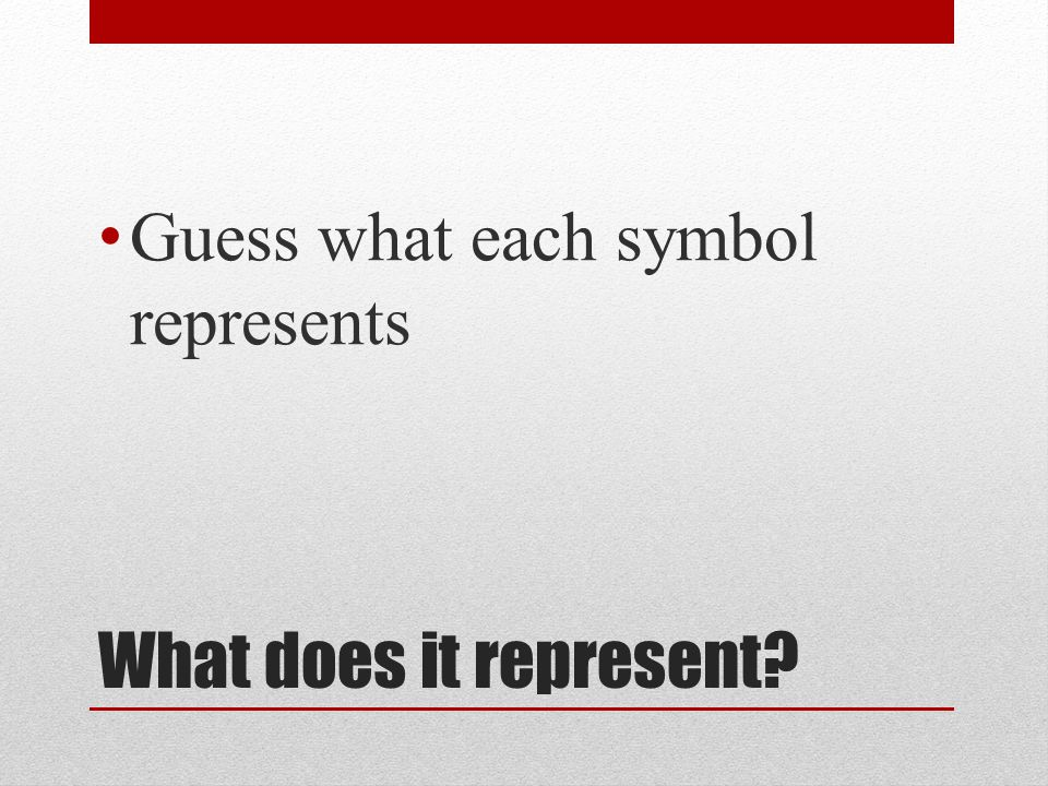 What does it represent? Guess what each symbol represents