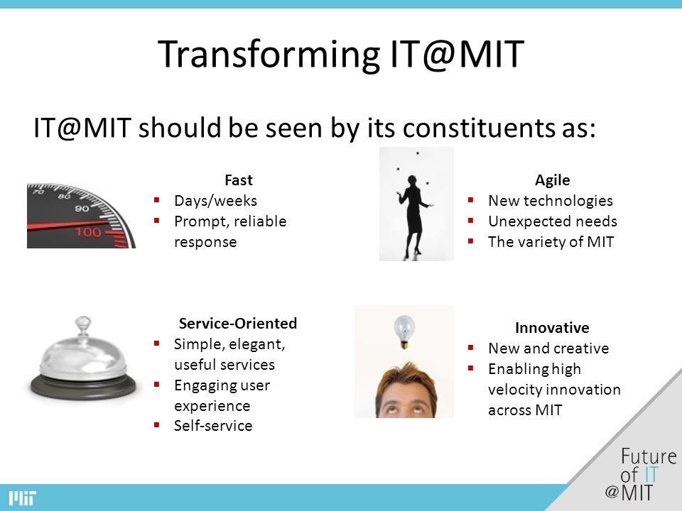 Transforming IT@MIT IT@MIT should be seen by its constituents as: Fast  Days/weeks  Prompt, reliable response Agile  New technologies  Unexpected needs  The variety of MIT Service-Oriented  Simple, elegant, useful services  Engaging user experience  Self-service Innovative  New and creative  Enabling high velocity innovation across MIT