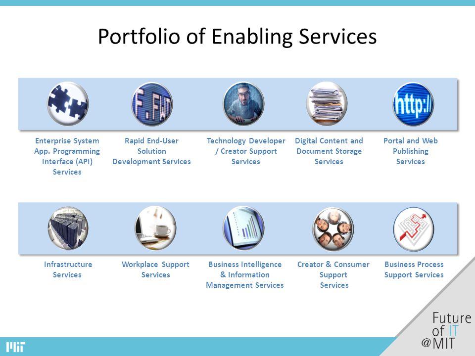 Portfolio of Enabling Services Technology Developer / Creator Support Services Enterprise System App.