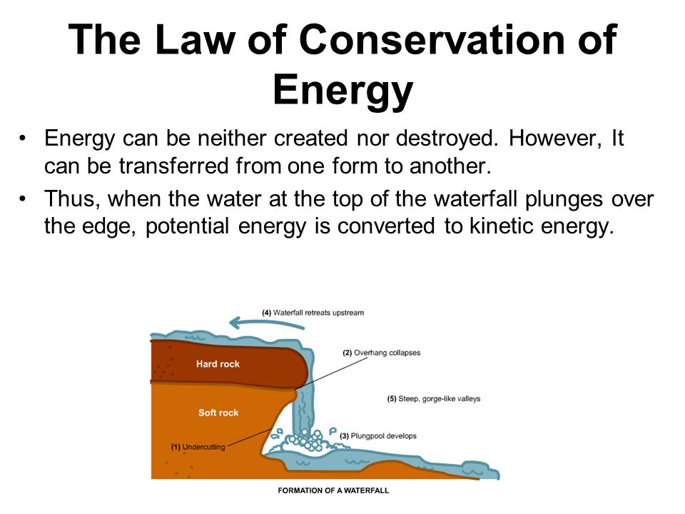 The Law of Conservation of Energy Energy can be neither created nor destroyed.