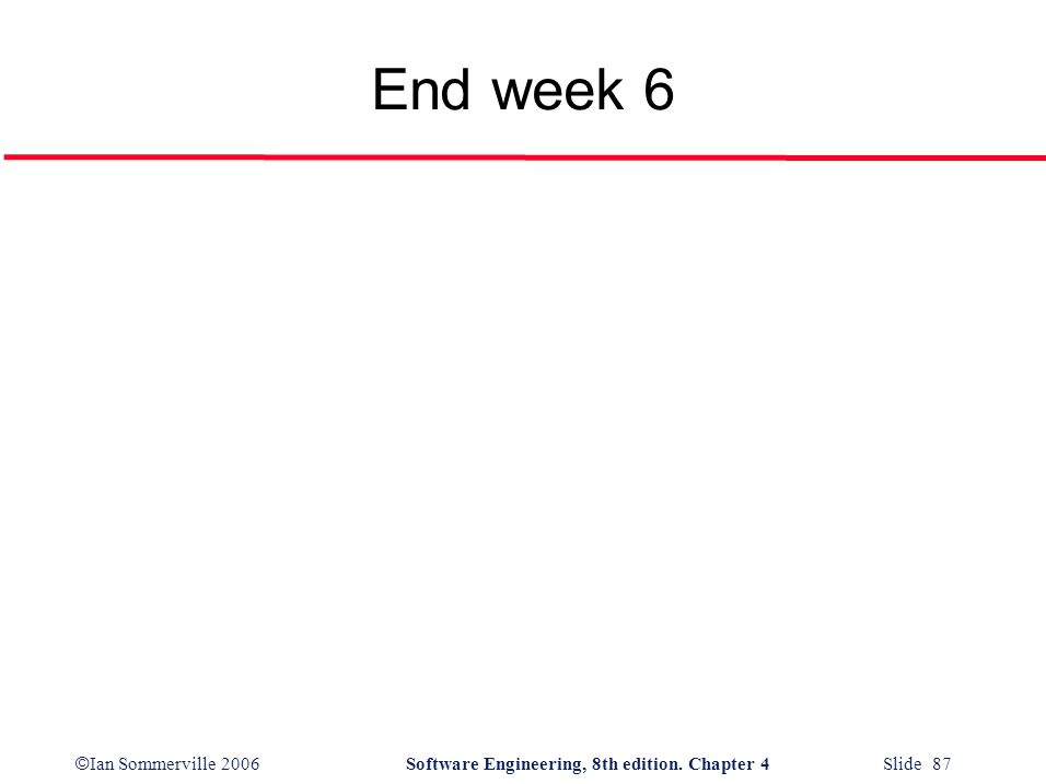 © Ian Sommerville 2006Software Engineering, 8th edition. Chapter 4 Slide 87 End week 6