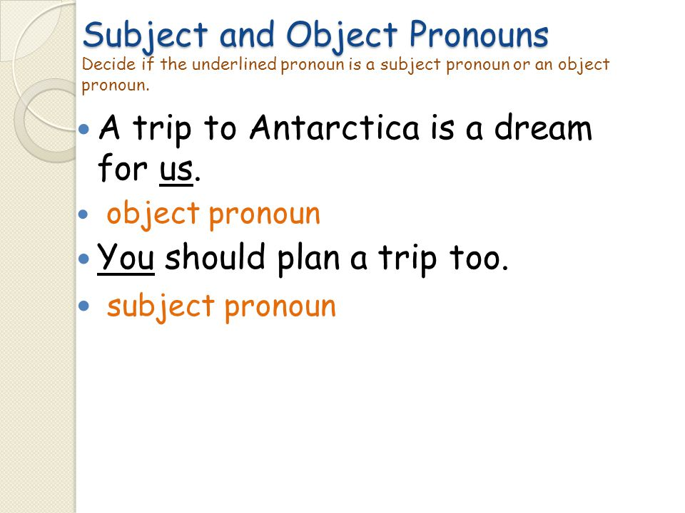 Subject and Object Pronouns Subject and Object Pronouns Decide if the underlined pronoun is a subject pronoun or an object pronoun. A trip to Antarcti