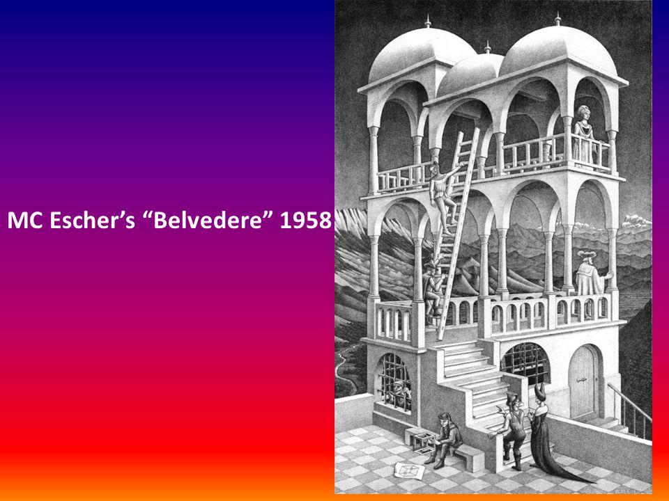 """MC Escher's """"Belvedere"""" 1958"""