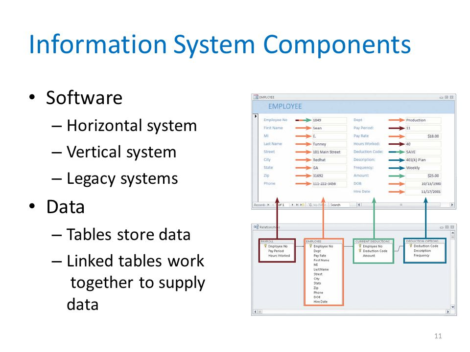Information System Components Software – Horizontal system – Vertical system – Legacy systems Data – Tables store data – Linked tables work together t