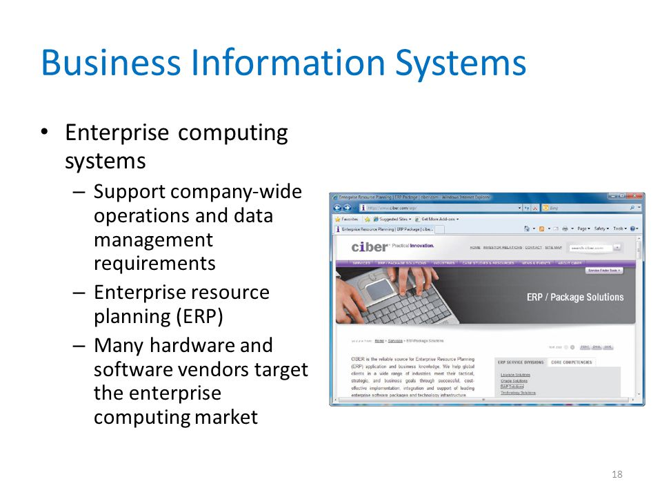 Business Information Systems Enterprise computing systems – Support company-wide operations and data management requirements – Enterprise resource pla