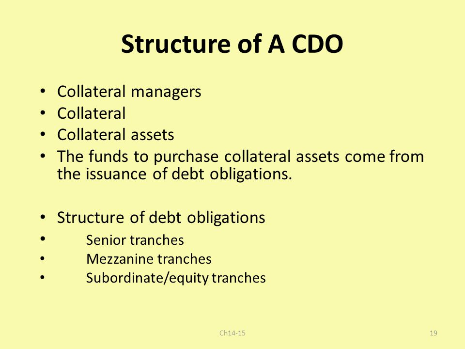 Structure of A CDO Collateral managers Collateral Collateral assets The funds to purchase collateral assets come from the issuance of debt obligations