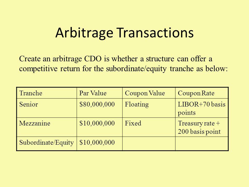 Arbitrage Transactions TranchePar ValueCoupon ValueCoupon Rate Senior$80,000,000FloatingLIBOR+70 basis points Mezzanine$10,000,000FixedTreasury rate +