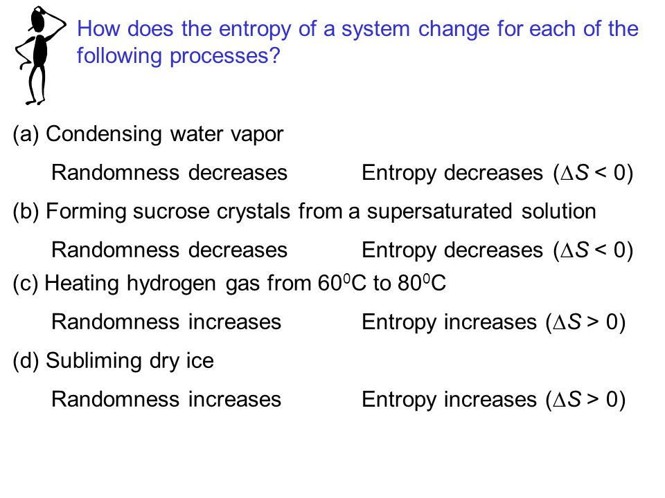 How does the entropy of a system change for each of the following processes? (a) Condensing water vapor Randomness decreases Entropy decreases (  S <
