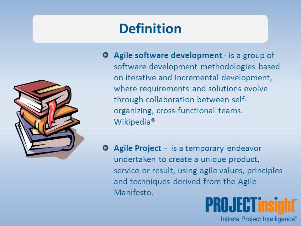 Agile software development - is a group of software development methodologies based on iterative and incremental development, where requirements and solutions evolve through collaboration between self- organizing, cross-functional teams.