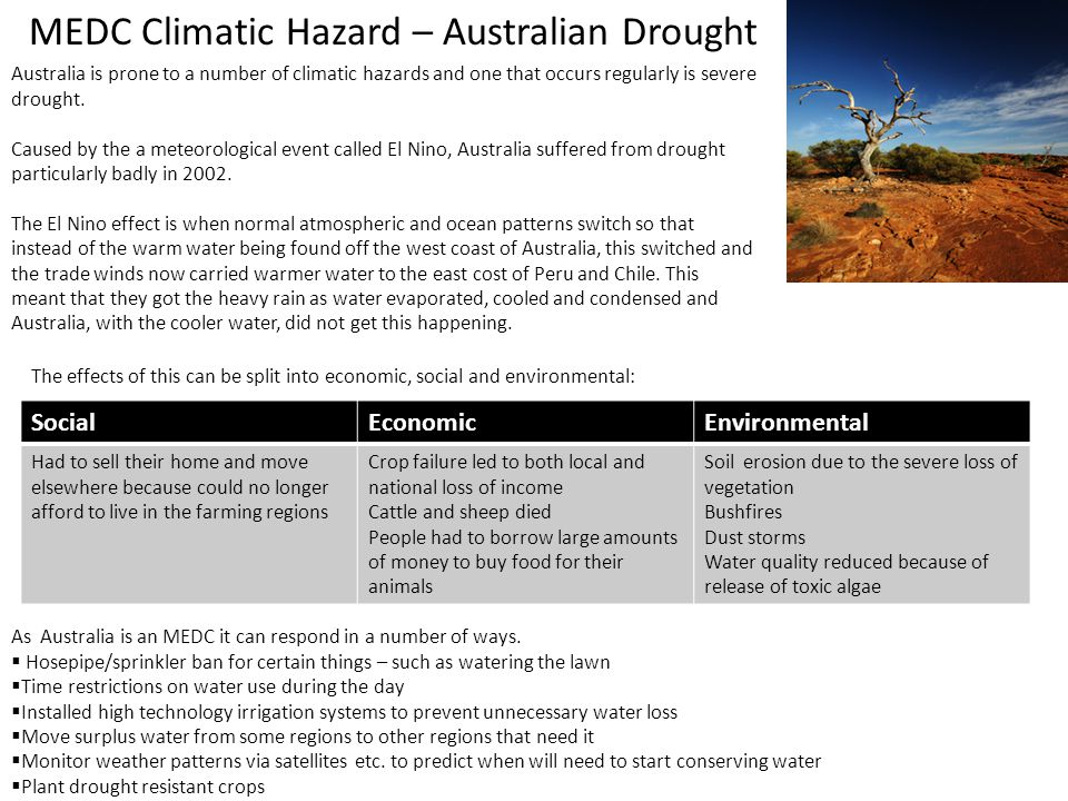 MEDC Climatic Hazard – Australian Drought Australia is prone to a number of climatic hazards and one that occurs regularly is severe drought. Caused b