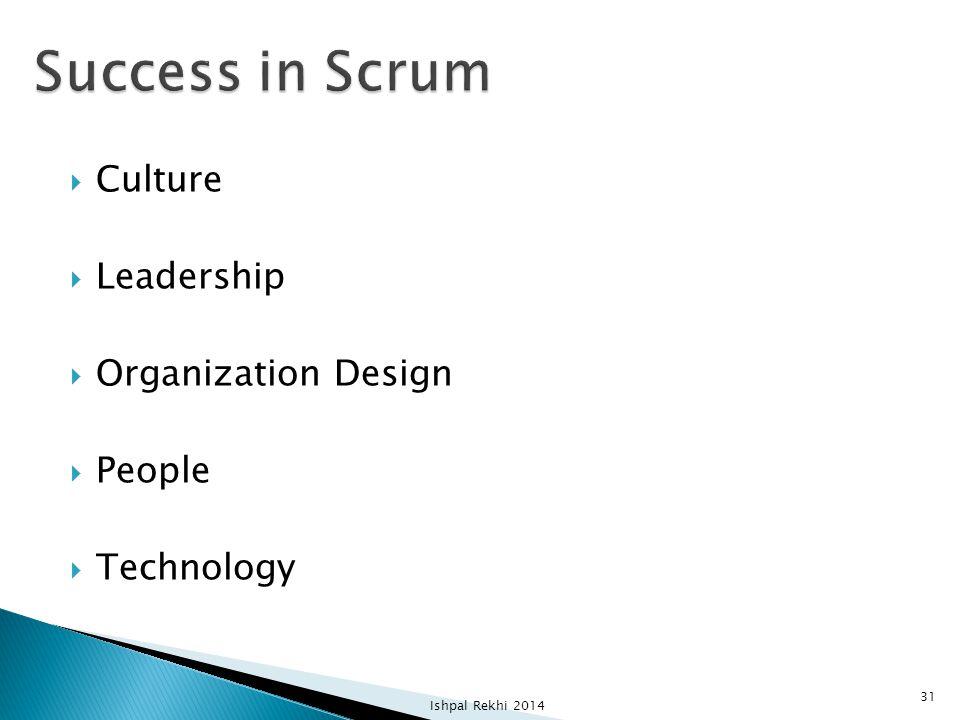  Culture  Leadership  Organization Design  People  Technology Ishpal Rekhi 2014 31