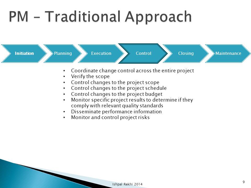 InitiationPlanningExecutionControlClosingMaintenance Coordinate change control across the entire project Verify the scope Control changes to the proje