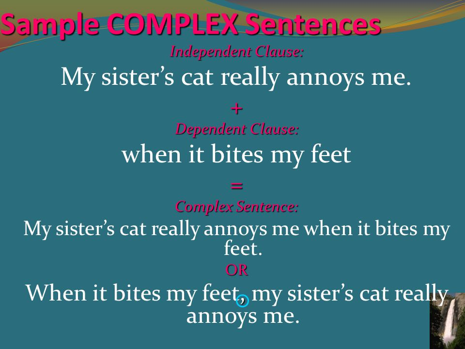 Sample COMPLEX Sentences Independent Clause: My sister's cat really annoys me.+ Dependent Clause: when it bites my feet= Complex Sentence: My sister's cat really annoys me when it bites my feet.OR, When it bites my feet, my sister's cat really annoys me.