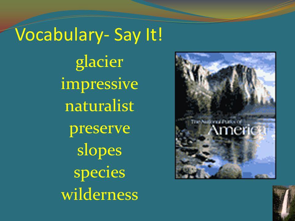 Vocabulary- Say It! glacier impressive naturalist preserve slopes species wilderness