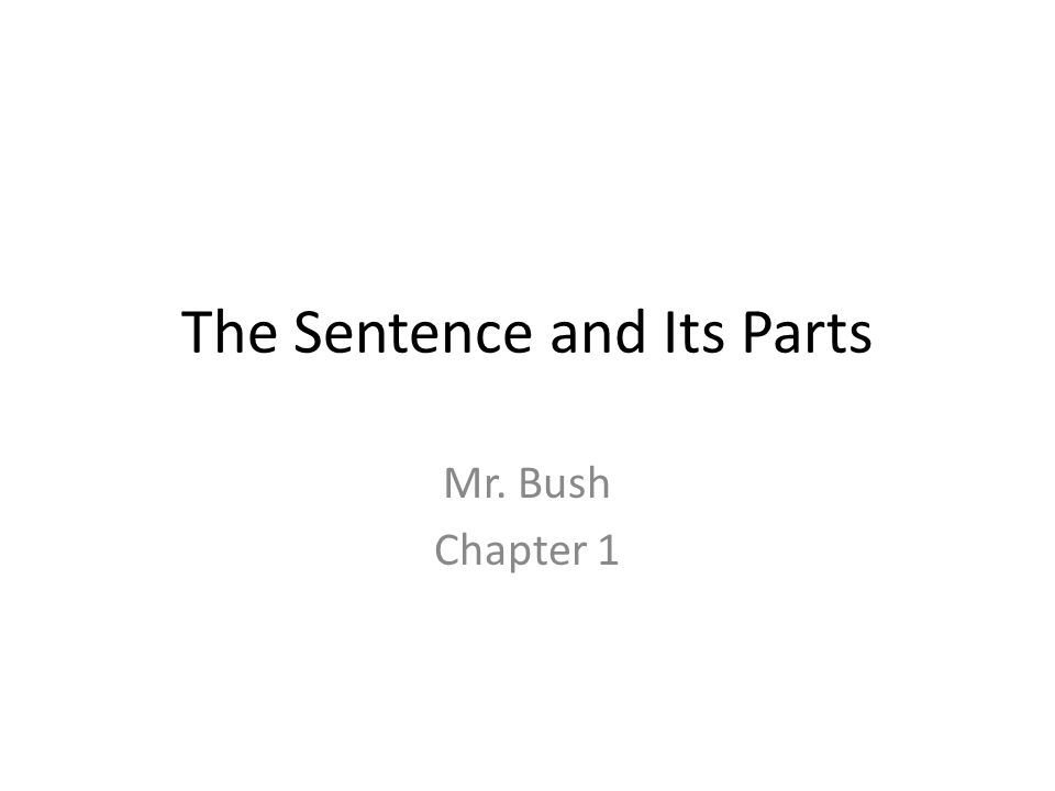 The Sentence and Its Parts Mr. Bush Chapter 1