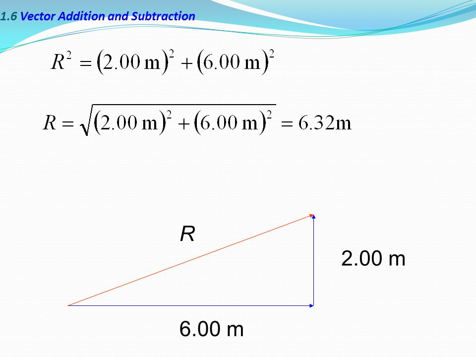1.6 Vector Addition and Subtraction 2.00 m 6.00 m R