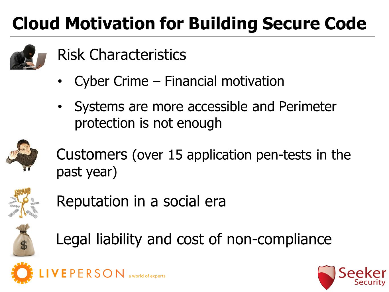 Cloud Motivation for Building Secure Code Reputation in a social era Risk Characteristics Cyber Crime – Financial motivation Systems are more accessible and Perimeter protection is not enough Legal liability and cost of non-compliance Customers (over 15 application pen-tests in the past year)