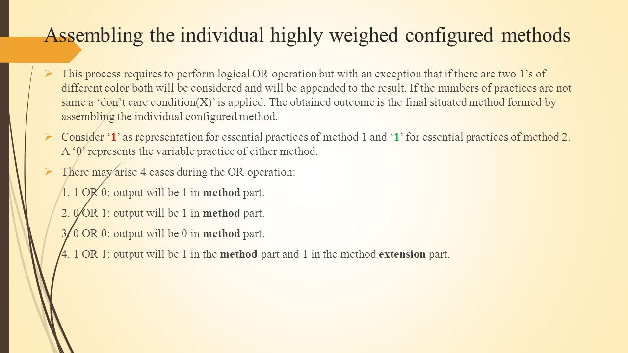 Assembling the individual highly weighed configured methods  This process requires to perform logical OR operation but with an exception that if there are two 1's of different color both will be considered and will be appended to the result.
