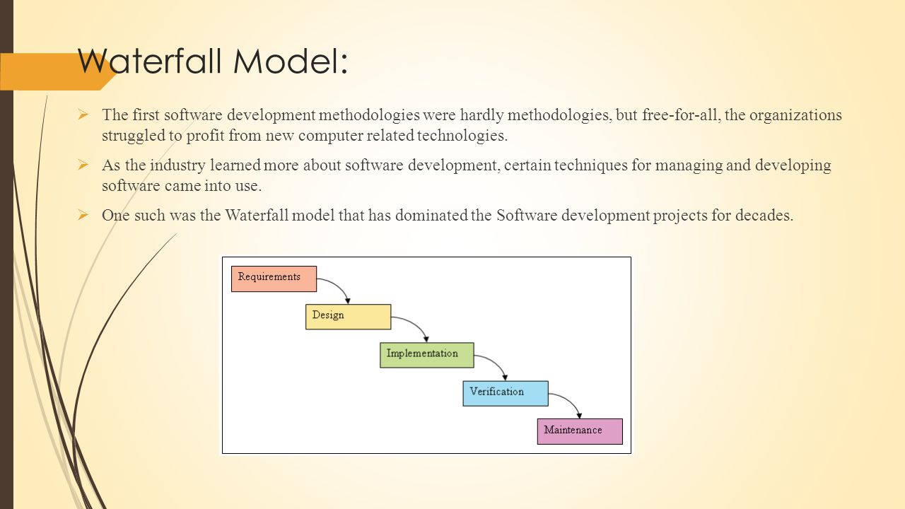 Waterfall Model:  Adoption of waterfall model helped in reducing the failure rate of Software development projects, but even with rigorous management, almost 70% projects using this methodology failed.
