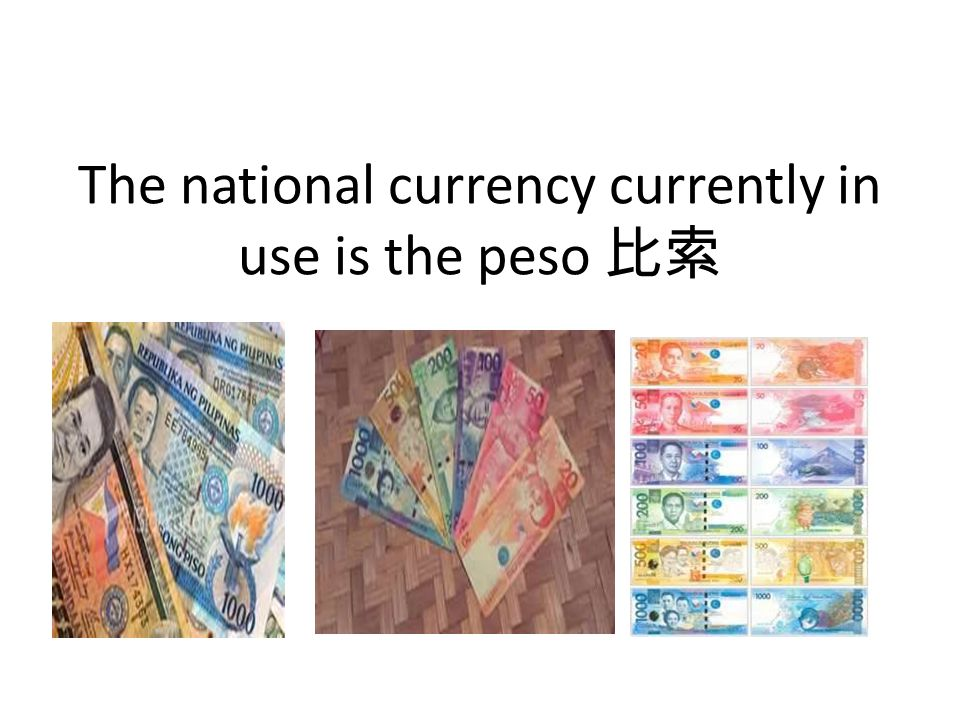 The national currency currently in use is the peso 比索