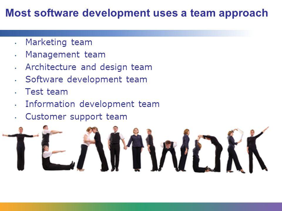 Most software development uses a team approach Marketing team Management team Architecture and design team Software development team Test team Information development team Customer support team