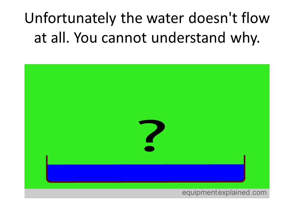 Unfortunately the water doesn't flow at all. You cannot understand why.