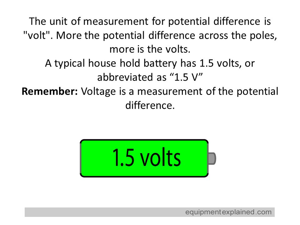 The unit of measurement for potential difference is