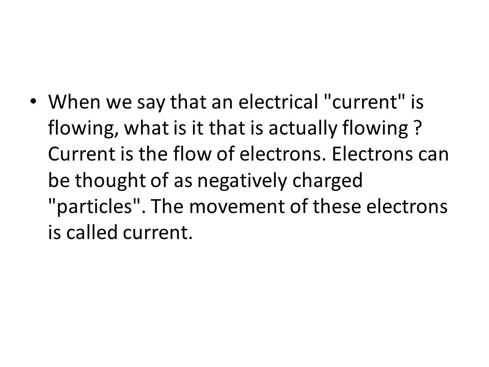 When we say that an electrical