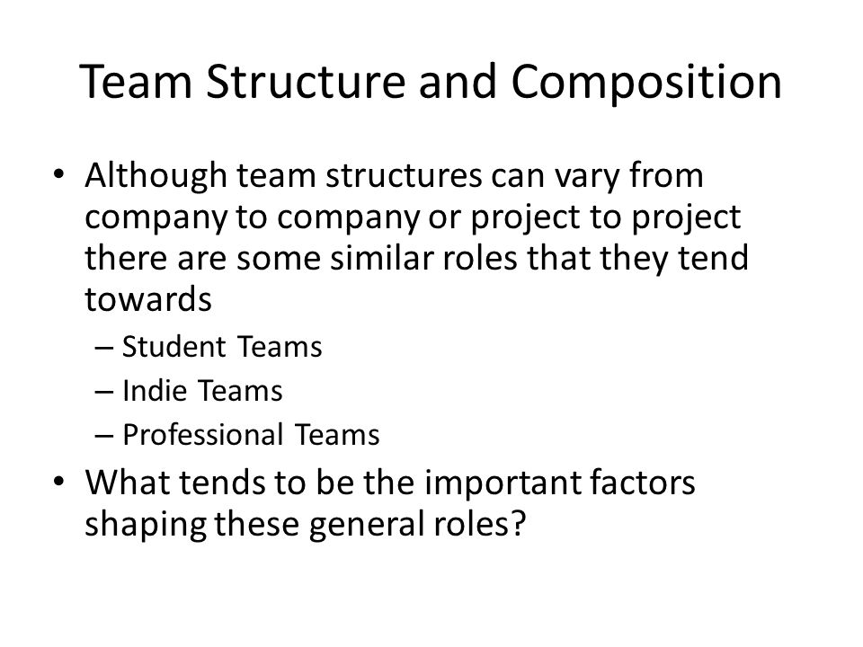 Team Structure and Composition Although team structures can vary from company to company or project to project there are some similar roles that they
