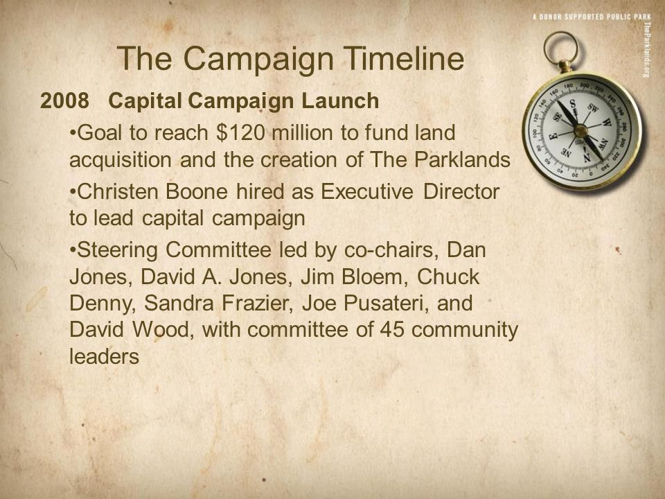 The Campaign Timeline 2008 Capital Campaign Launch Goal to reach $120 million to fund land acquisition and the creation of The Parklands Christen Boone hired as Executive Director to lead capital campaign Steering Committee led by co-chairs, Dan Jones, David A.