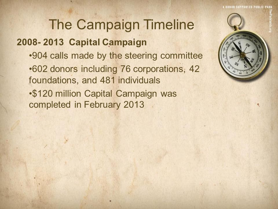 The Campaign Timeline 2008- 2013 Capital Campaign 904 calls made by the steering committee 602 donors including 76 corporations, 42 foundations, and 481 individuals $120 million Capital Campaign was completed in February 2013