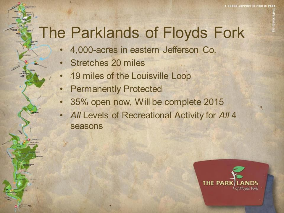 The Parklands of Floyds Fork 4,000-acres in eastern Jefferson Co.