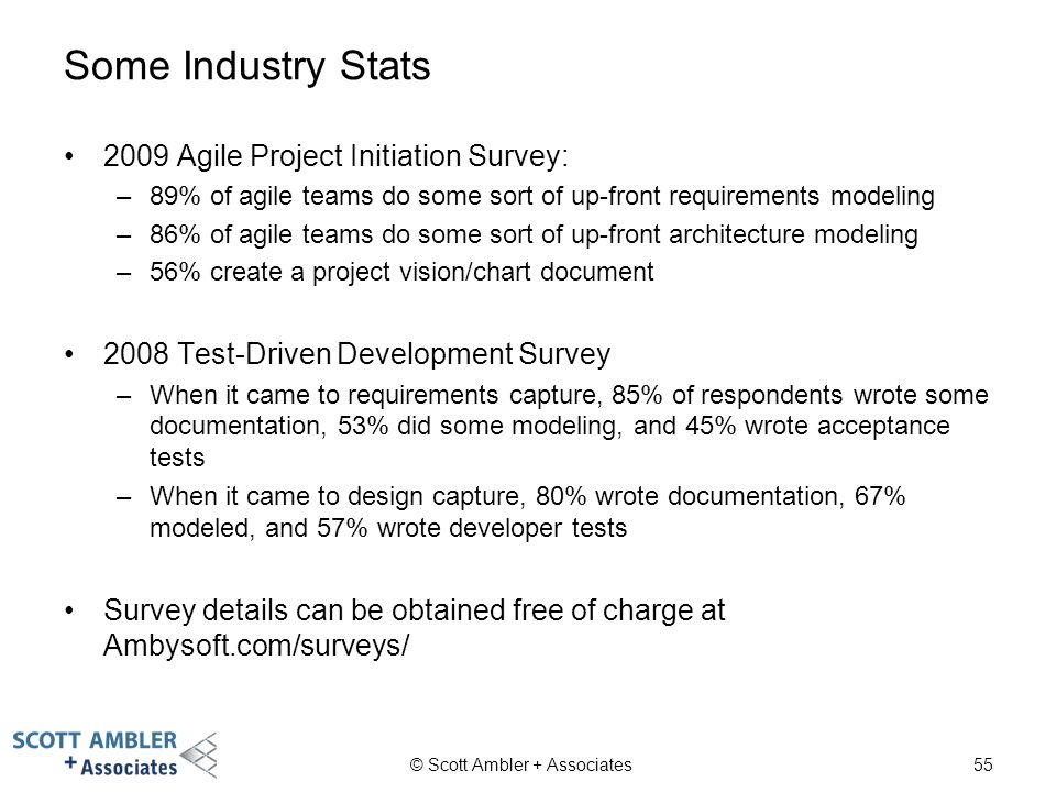 Some Industry Stats 2009 Agile Project Initiation Survey: –89% of agile teams do some sort of up-front requirements modeling –86% of agile teams do so