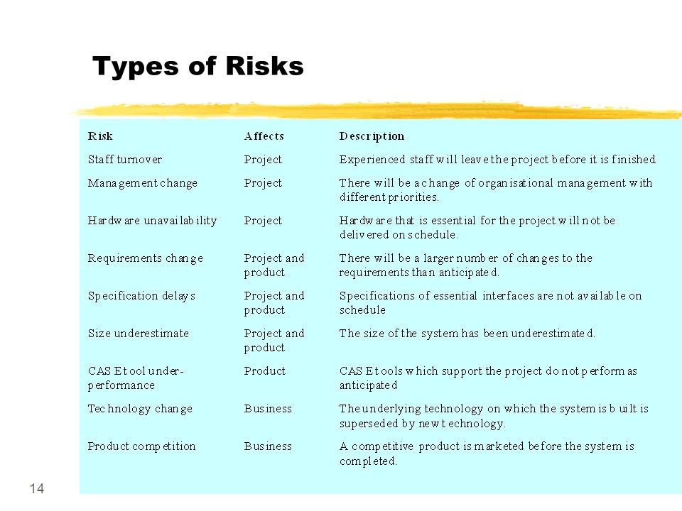 14 Types of Risks