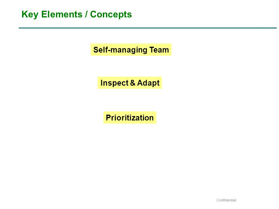 Confidential Key Elements / Concepts Self-managing Team Inspect & Adapt Prioritization