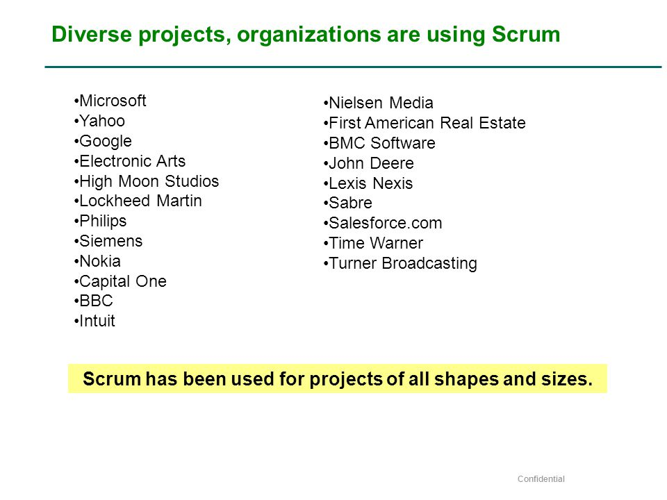 Confidential Diverse projects, organizations are using Scrum Nielsen Media First American Real Estate BMC Software John Deere Lexis Nexis Sabre Salesforce.com Time Warner Turner Broadcasting Microsoft Yahoo Google Electronic Arts High Moon Studios Lockheed Martin Philips Siemens Nokia Capital One BBC Intuit Scrum has been used for projects of all shapes and sizes.