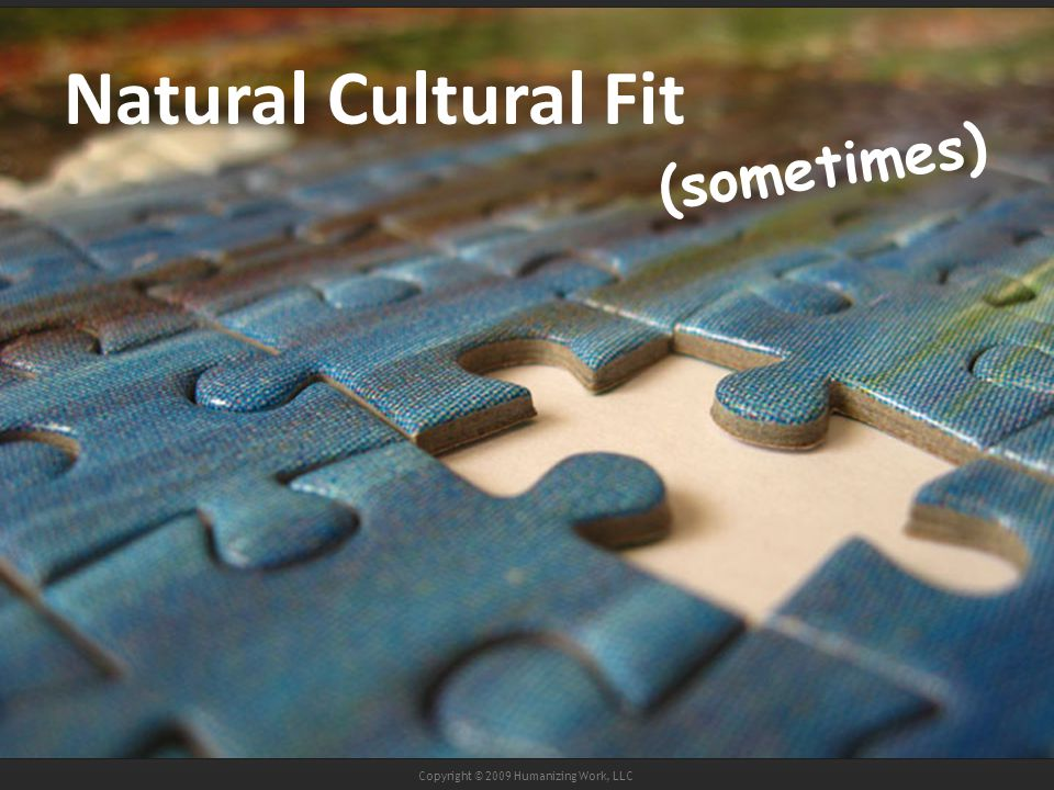 Copyright © 2009 Humanizing Work, LLC Natural Cultural Fit (sometimes)
