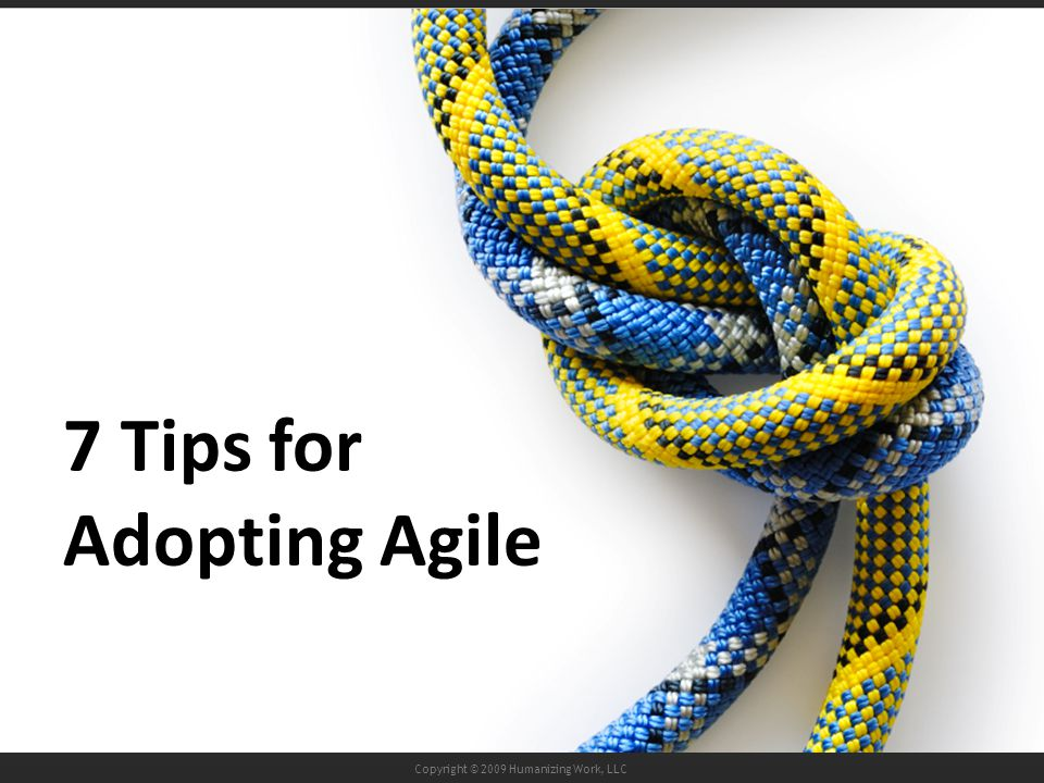 Copyright © 2009 Humanizing Work, LLC 7 Tips for Adopting Agile