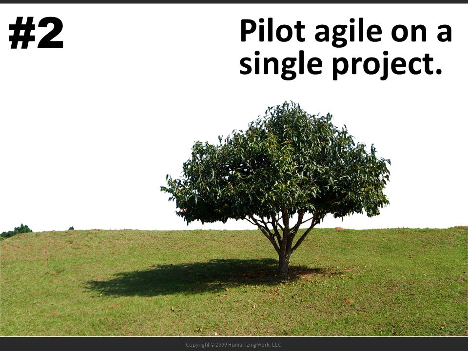 Copyright © 2009 Humanizing Work, LLC Pilot agile on a single project. #2