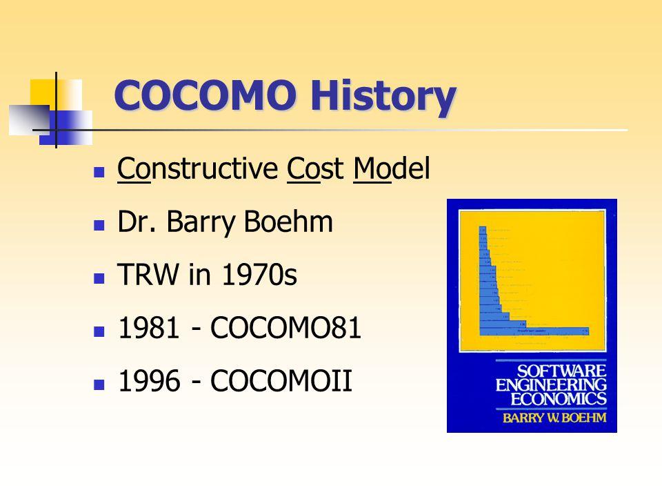 COCOMO History COCOMO History Constructive Cost Model Dr.
