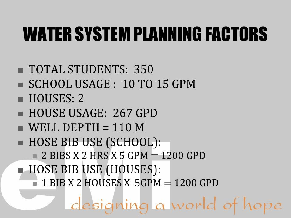 WATER SYSTEM PLANNING FACTORS TOTAL STUDENTS: 350 SCHOOL USAGE : 10 TO 15 GPM HOUSES: 2 HOUSE USAGE: 267 GPD WELL DEPTH = 110 M HOSE BIB USE (SCHOOL): 2 BIBS X 2 HRS X 5 GPM = 1200 GPD HOSE BIB USE (HOUSES): 1 BIB X 2 HOUSES X 5GPM = 1200 GPD