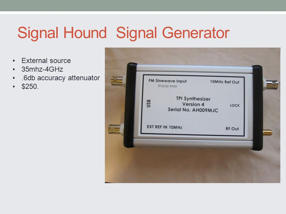Signal Hound Signal Generator External source 35mhz-4GHz.6db accuracy attenuator $250.