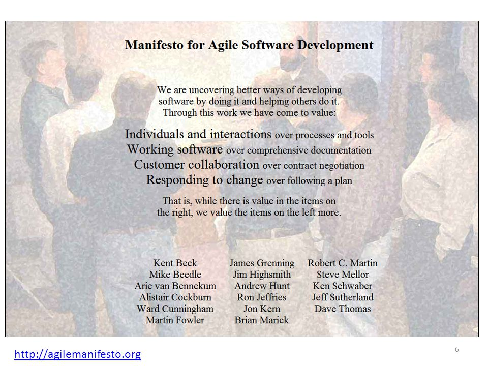 Agile software development Each agile method consists of a set of practices Initially the belief was that a method should be adopted in its entirety In projects, practices are cherry picked or tailored So if you use any method, any combination of methods, or one or more agile practices, you can say you are doing… Agile software development 17